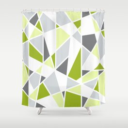 Geometric Pattern in Lime, Yellow, Gray Shower Curtain