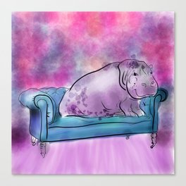 animals in chairs #9 variations on a theme Hippo Canvas Print