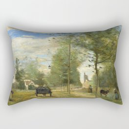 "Jean-Baptiste-Camille Corot "" Road on the outskirts of a town, in Brie"" Rectangular Pillow"