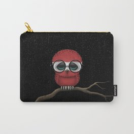 Baby Owl with Glasses and Latvian Flag Carry-All Pouch