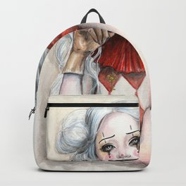 """""""Giggles"""" Mixed media Clown Painting Backpack"""