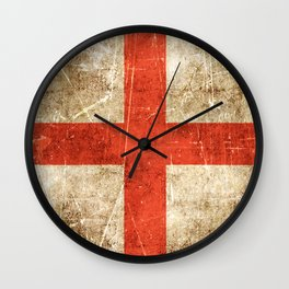 Vintage Aged and Scratched English Flag Wall Clock