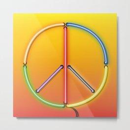 PEACE Sign Neon Metal Print