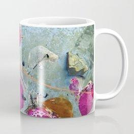 Pink-Magenta Flower Petals Floating In Pond Coffee Mug