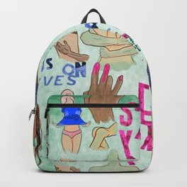 Sexy Print Allover Hot Moments Hands on Curves Make Love not War Beauty of a Woman Backpack