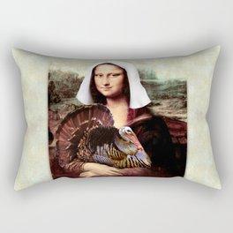 Mona Lisa Thanksgiving Pilgrim Rectangular Pillow