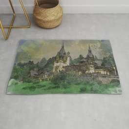 Peles Castle Romania Watercolor Rug
