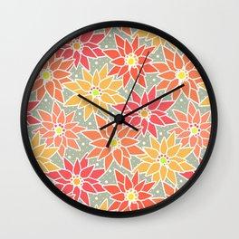 Poinsettia. Retro. Wall Clock