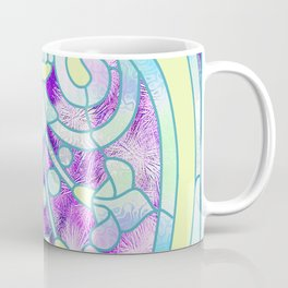 Art Nouveau Aqua and Purple Batik Design Coffee Mug