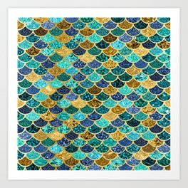 Glitter Blues, Greens, and Gold Mermaid Scales Pattern Art Print