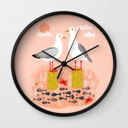 Seagulls - Bird Art, Coastal Nautical Summer Bird Print by Andrea Lauren Wall Clock