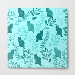 Watercolor Floral and Cat VIII Metal Print
