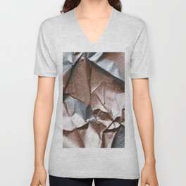Rose Gold and Silver Abstract Unisex V-Neck