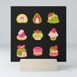 Strawberry Matcha - black Mini Art Print