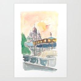 Paris France Montmartre Sunset At Sacre Coeur Art Print