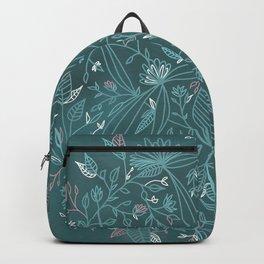 Floral Weave Teal Backpack