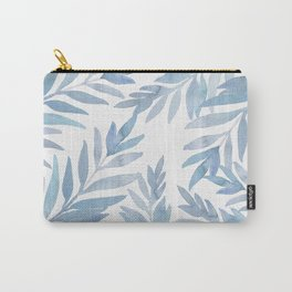Muted Blue Palm Leaves Carry-All Pouch