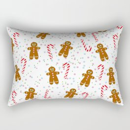 Gingerbread man wishes you Merry Xmas! - White Rectangular Pillow