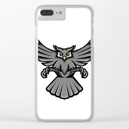 Horned Owl Swooping Front Mascot Clear iPhone Case
