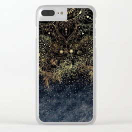 Stylish Gold floral mandala and confetti Clear iPhone Case