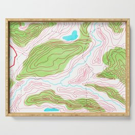 Let's go hiking - topographical map Serving Tray