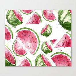 Juicy Watercolor Watermelons Canvas Print