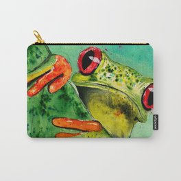 Watercolor Tree Frog Carry-All Pouch