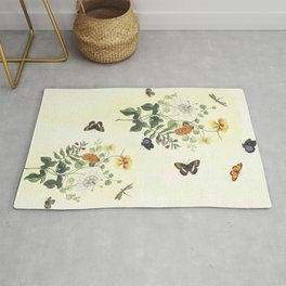 The return of Spring - butterflies and flowers Rug