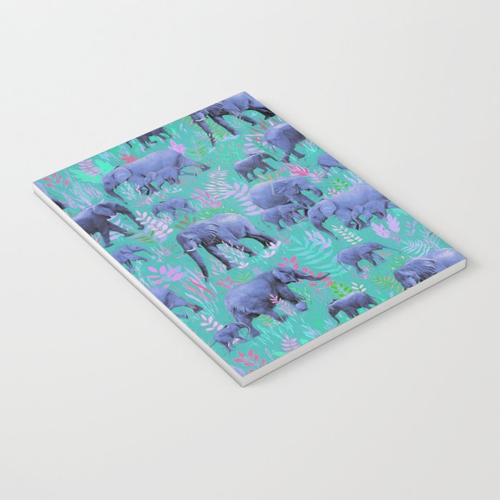 Sweet Elephants in Bright Teal, Pink and Purple Notebook