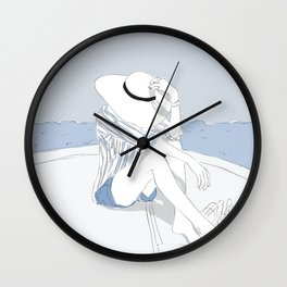 Blue Stripes & Boats Fashion Girl Wall Clock