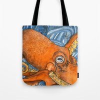 kraken Tote Bags featuring Kraken by Amy Nickerson