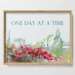 One Day at a Time Fence Flowers Serving Tray