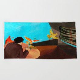 Old man painting pigeons children's book illustration Beach Towel