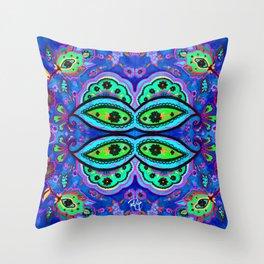 Crazy Paisley BLUE Throw Pillow