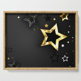 Gray Background with Black Stars Serving Tray