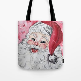 Vintage Santa Face Christmas Watercolor Tote Bag