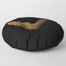 Cheetah Disappearing into Black Velvet Floor Pillow