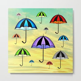 Colorful umbrellas flying in the sky Metal Print