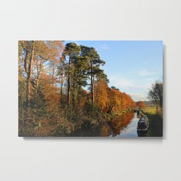Trees by the Canal in the Fall Metal Print