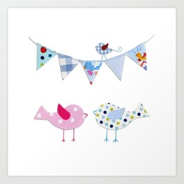 Birds with party flags Art Print