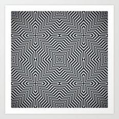 Minimal Geometrical Optical Illusion Style Pattern in Black & White Art Print