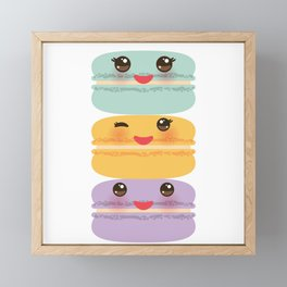 Kawaii macaroon funny orange blue lilac cookie with pink cheeks with pink cheeks and big eyes Framed Mini Art Print