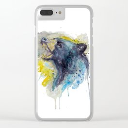 Black Bear Head Clear iPhone Case