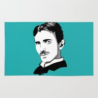 tesla Area & Throw Rugs featuring Nikola Tesla by Laura Meg