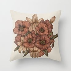 Poppies and Lilies Throw Pillow