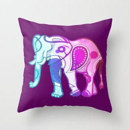 Colourphant Throw Pillow