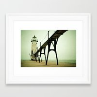 calm Framed Art Prints featuring Manistee Light by Olivia Joy StClaire