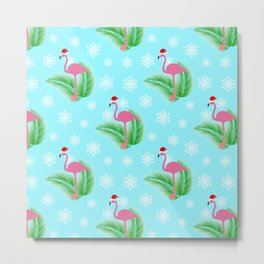 Flamingo at winter with snowflakes Metal Print