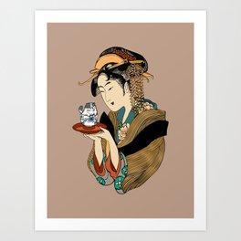 Tea Time with Persian Cat Art Print