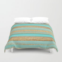 Turquoise Brown Faux Gold Glitter Stripes Pattern Duvet Cover